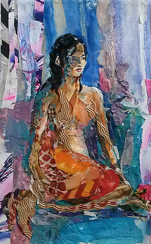 18 Collage-Seated figure summer colours-SOLD-caroline sayer-700x1130