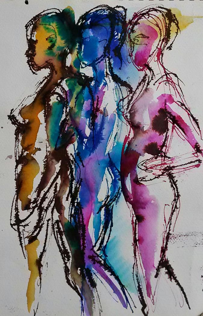 Rainbow People ink drawing