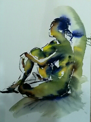 Seated figure ink drawing 2016
