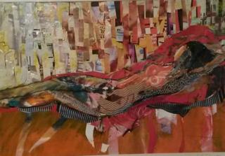 Collage  girl on the orange divan