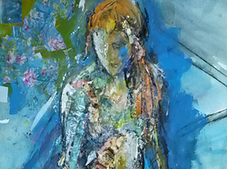 2 Collage - seated figure with roses-caroline sayer-700x520