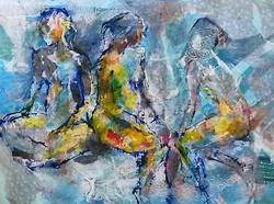 3 Collage-three figures on blue-caroline sayer-700x520