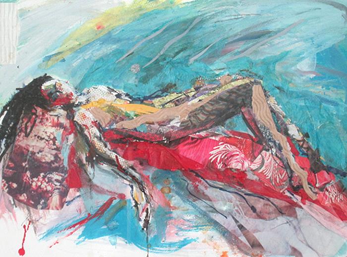 12 Collage-Girl on red sofa-SOLD-caroline sayer-700x520