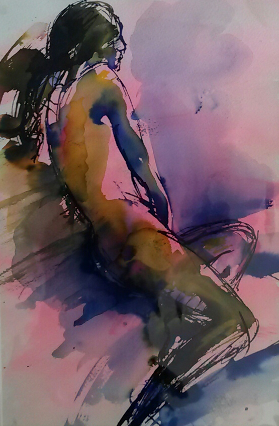 Figure on couch, blue yellow and pink