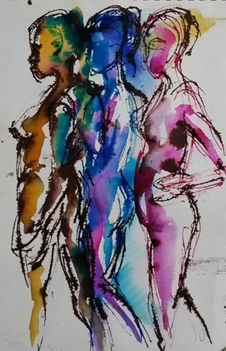 Rainbow People ink drawing