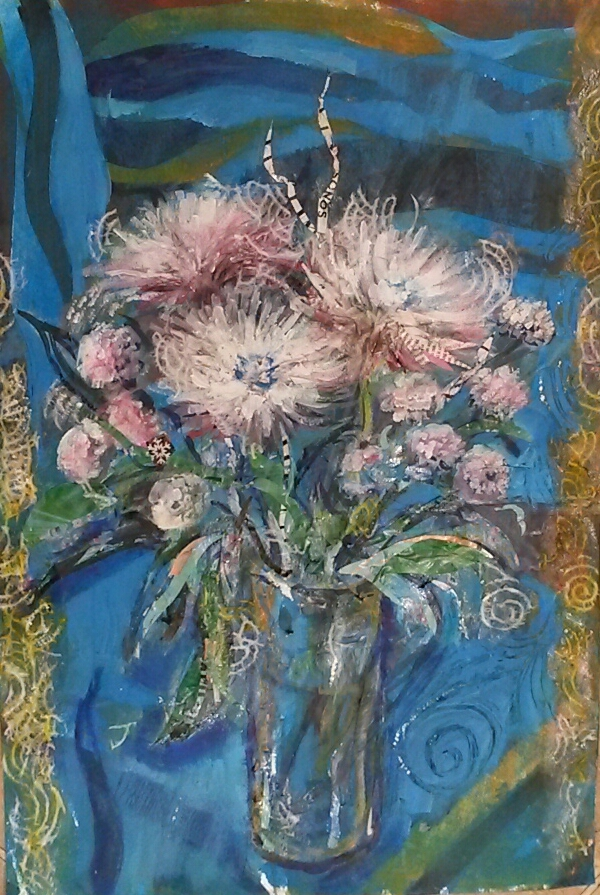 Collage - white flowers on blue