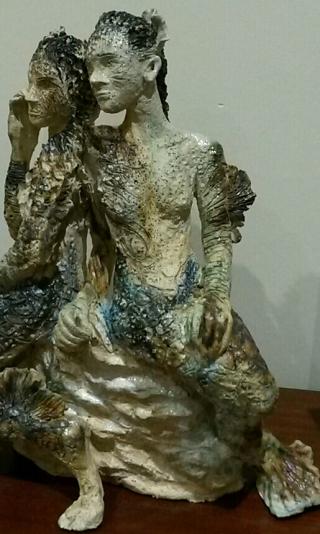 Sculpture mermaid angle