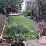 View from the patio with planted up pots
