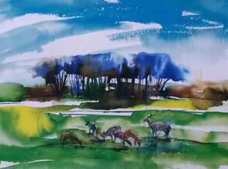 Watercolour - Deer Richmond Park-caroline sayer-700x520