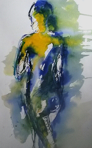 8 Standing figure blues and yellows-caroline sayer-700x1130