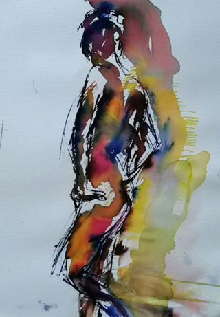 Standing figure, splash of pink