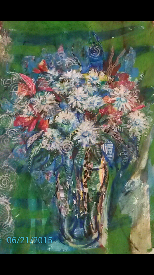 Collage - Summer flowers on Green