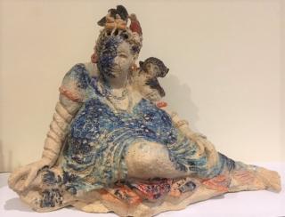 Sculpture Monkey on her Shoulder