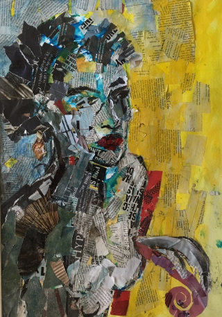 Caroline Sayer Woman in Yellow and Blue Acrylic & Collage