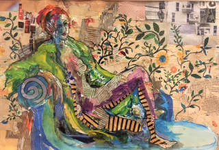 Collage  Girl with the Striped Stockings  Caroline Sayer (2)