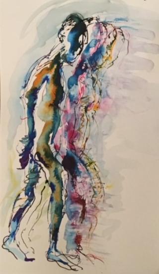 Ink drawing male figure walking