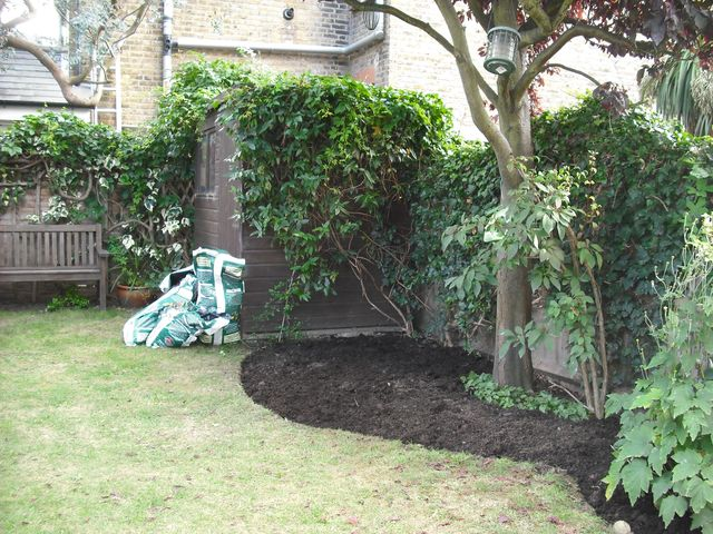 Garden in Teddington - before planting up the newly created border